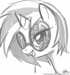 Size: 735x788 | Tagged: safe, artist:johnjoseco, dj pon-3, vinyl scratch, unicorn, vampire, vampony, bedroom eyes, black and white, broken glass, broken glasses, drool, fangs, female, glasses, grayscale, horn, kitchen eyes, mare, monochrome, open mouth, simple background, solo, sunglasses, vinyl the vampire, white background