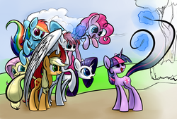Size: 1748x1181 | Tagged: safe, artist:underpable, applejack, fluttershy, pinkie pie, rainbow dash, rarity, twilight sparkle, oc, oc:fausticorn, creation, drawing, drawn into existence, female, fourth wall, happy, lauren faust, mother, ponified, smiling
