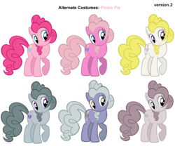 Size: 3000x2500 | Tagged: safe, artist:moongazeponies, artist:pika-robo, limestone pie, marble pie, pinkie pie, surprise, earth pony, pony, alternate costumes, discorded, female, g1, g1 to g4, g3, g3 to g4, g4, generation leap, mare, palette swap, recolor, simple background, transparent background, vector