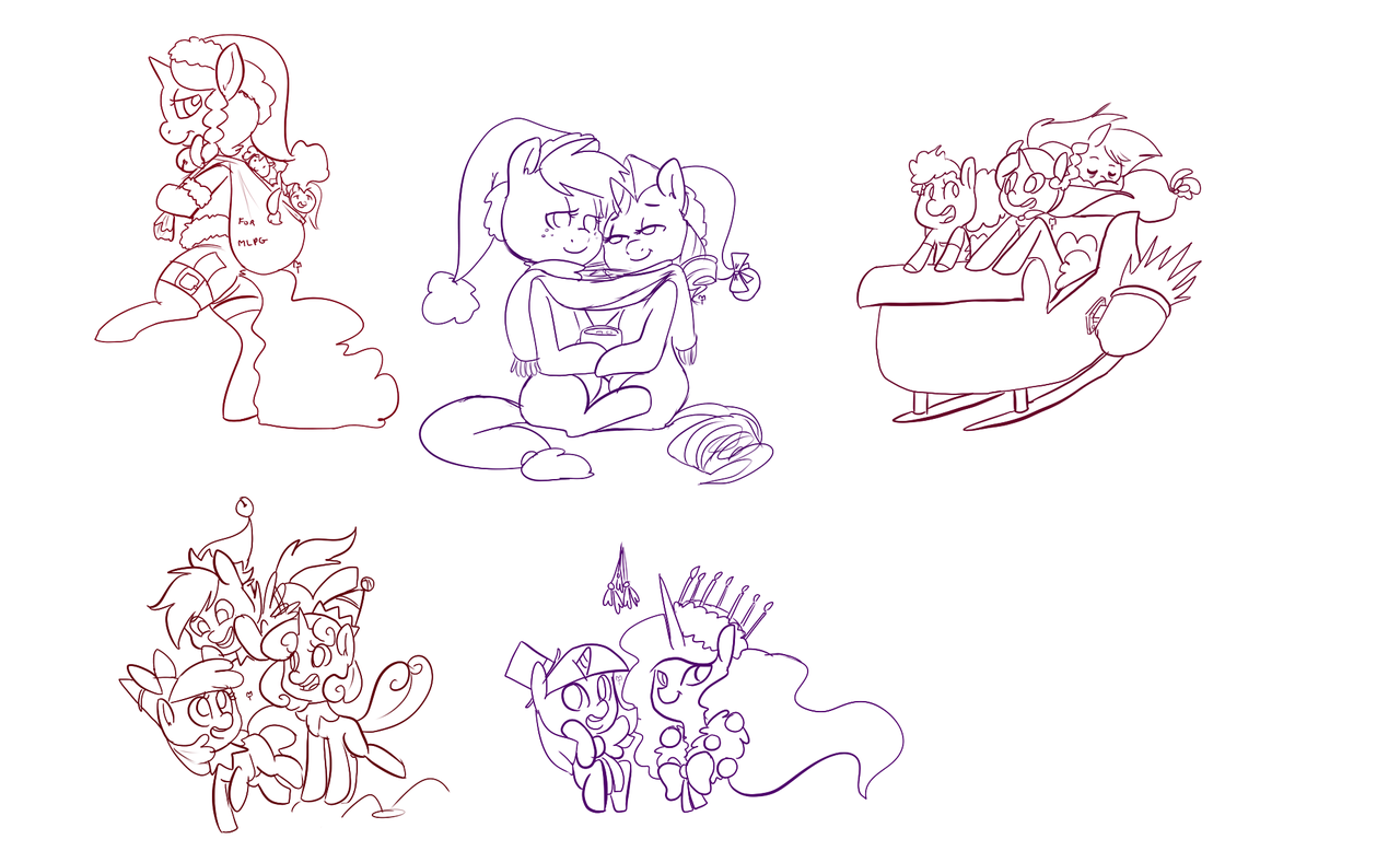 #195902 - apple bloom, applejack, artist:mt, canon x oc, christmas, cutie  mark crusaders, female, hat, lesbian, minituffs, oc, oc:marker pony,  oc:minituffs, ...