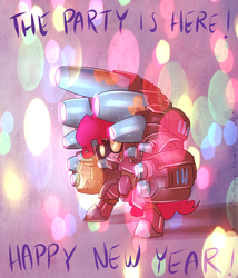 Size: 856x1000   Tagged: safe, artist:atryl, pinkie pie, 30 minute art challenge, goggles, happy new year, holiday, open mouth, party cannon, solo, starcraft