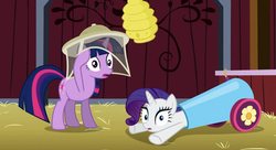 Size: 1341x731   Tagged: safe, screencap, rarity, twilight sparkle, spike at your service, barn, beehive, cannon, context is for the weak, gasp, net, party cannon
