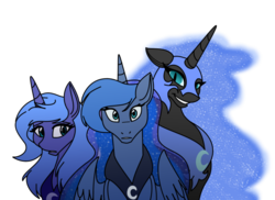 Size: 900x655 | Tagged: dead source, safe, artist:100yearslater, nightmare moon, princess luna, alicorn, pony, ethereal mane, lunar trinity, s1 luna, self ponidox, simple background, starry mane, transparent background, triality