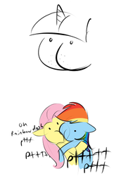 Size: 336x489   Tagged: safe, artist:furseiseki, fluttershy, rainbow dash, twilight sparkle, pony, buttface, dialogue, fart, fart noise, female, flutterdash, kissing, lesbian, mutant, onomatopoeia, shipping, simple background, sound effects, wat, what has science done, white background
