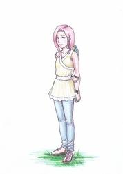Size: 849x1194 | Tagged: safe, artist:vasira, fluttershy, bird, humanized, sandals