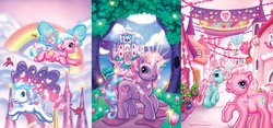 Size: 1927x900   Tagged: safe, artist:toolkitten, heart bright, lily lightly, minty, pinkie pie, pinkie pie (g3), star flight, bird, earth pony, pegasus, pony, unicorn, a very pony place, come back lily lightly, g3, official, positively pink, two for the sky, 2000s, castle, female, flying, g3betes, glowing horn, happy, heart, horn, my little pony, ponyville, rainbow, unicornia
