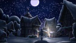 Size: 3840x2160 | Tagged: safe, artist:stinkehund, night, ponyville, scenery, snow, winter