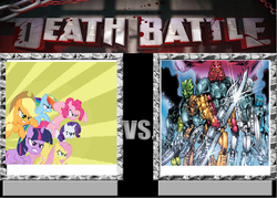 Size: 901x644 | Tagged: applejack, bionicle, death battle, fluttershy, lego, mane six, meme, pinkie pie, rainbow dash, rarity, safe, toa, toa nuva, twilight sparkle