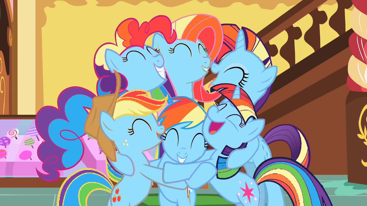 Image pinkie pie and fluttershy flying png my little pony fan -  197436 Applejack Fluttershy Hug Mane Six Pinkie Pie Rainbow Dash Rarity Recolor Safe Twilight Sparkle Derpibooru My Little Pony Friendship