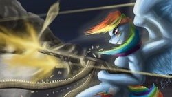 Size: 1639x922 | Tagged: safe, artist:tattertailart, rainbow dash, anthro, gun, m60, machine gun, muscles