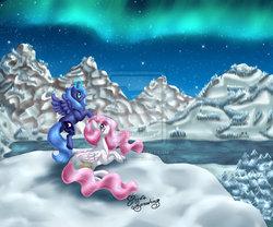 Size: 2687x2232 | Tagged: safe, artist:nemoturunen, princess celestia, princess luna, alicorn, pony, female, mare, royal sisters, s1 luna, sisters, snow, snowfall, winter