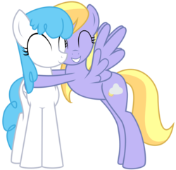 Size: 699x677 | Tagged: safe, artist:n0m1, cloud kicker, lightning bolt, white lightning, pegasus, pony, best friends, cute, fanfic art, female, happy, hug, mare, simple background, transparent background