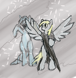 Size: 419x429   Tagged: safe, derpy hooves, doctor whooves, time turner, ice pony, pegasus, pony, clara oswin oswald, doctor who, female, mare, snowpony, the fall