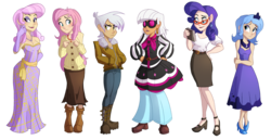 Size: 2425x1252 | Tagged: safe, artist:ric-m, fleur-de-lis, fluttershy, gilda, photo finish, princess luna, rarity, human, bare shoulders, clothes, dress, evening gloves, female, glasses, gloves, hands in pockets, humanized, long gloves, simple background, strapless, transparent background