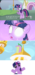Size: 604x1270   Tagged: safe, edit, edited screencap, screencap, spike, twilight sparkle, magic duel, the cutie mark chronicles, comic, female, filly, filly twilight sparkle, glowing eyes, hub logo, screencap comic, shrug, spikezilla, younger