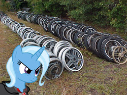Size: 640x480 | Tagged: safe, trixie, pony, alicorn amulet, irl, photo, ponies in real life, vector, wheel, wheels trixie