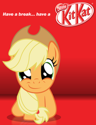 Size: 850x1100 | Tagged: safe, artist:adrianimpalamata, applejack, adventure in the comments, candy, chocolate, kit kat