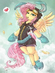 Size: 1280x1701 | Tagged: safe, artist:dimwitdog, edit, fluttershy, pegasus, pony, blushing, bunny ears, clothes, cloud, cloudy, dangerous mission outfit, female, flying, goggles, heart, hoodie, looking at you, mare, open mouth, solo