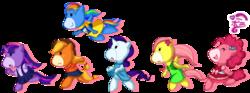 Size: 1343x497 | Tagged: safe, artist:c-puff, applejack, fluttershy, pinkie pie, rainbow dash, rarity, twilight sparkle, anthro, g1, g4 to g1, generation leap, japanese, mane six, takara pony