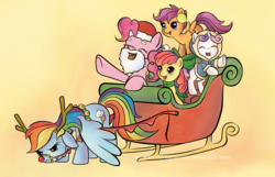 Size: 1361x879 | Tagged: dead source, safe, artist:immortaltanuki, apple bloom, pinkie pie, rainbow dash, scootaloo, sweetie belle, annoyed, christmas, clothes, costume, cute, cutie mark crusaders, diasweetes, earmuffs, eyes closed, fake beard, floppy ears, frown, holiday, hoodie, open mouth, parka, reindeer costume, reindeer dash, rudolph dash, santa beard, santa costume, scarf, sleigh, smiling, spread wings, underhoof