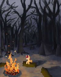 Size: 800x1000 | Tagged: dead source, safe, artist:celestiawept, scootaloo, pegasus, pony, alone, campfire, female, filly, forest, looking at something, solo