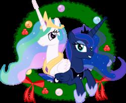 Size: 3660x3000   Tagged: safe, artist:takua770, princess celestia, princess luna, christmas, simple background, transparent background, vector