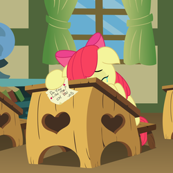 Size: 4000x4000   Tagged: safe, artist:abronyaccount, artist:matty4z, apple bloom, adventure in the comments, crying, female, heartbreak, note, rejection, sad, solo