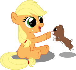 Size: 1168x1090 | Tagged: applejack, artist:matty4z, cute, filly, jackabetes, puppy, safe, simple background, transparent background, vector, winona