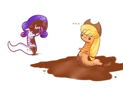 Size: 1280x949 | Tagged: safe, artist:mylittlewormys, applejack, rarity, worm, ..., cross-popping veins, dirty, mud, species swap, worms