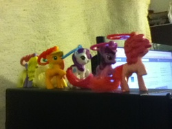 Size: 960x720 | Tagged: applejack, desk, irl, lily blossom, mcdonald's happy meal toys, photo, pinkie pie, rarity, safe, toy, twilight sparkle