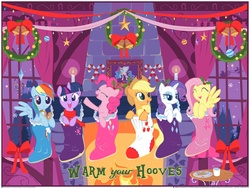 Size: 3600x2700   Tagged: safe, artist:steve thomas, applejack, fluttershy, pinkie pie, rainbow dash, rarity, twilight sparkle, earth pony, pegasus, pony, unicorn, candy, candy cane, christmas, christmas decoration, christmas lights, christmas stocking, cookie, cute, eyes closed, female, fireplace, food, holiday, holly, implied princess celestia, indoors, lidded eyes, looking at you, mane six, mare, milk, official, open mouth, print, raised hoof, santa claus, silhouette, smiling, sock, table, warm your hooves, windows