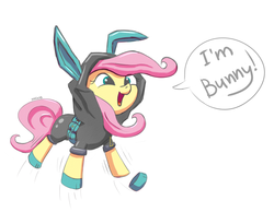 Size: 1942x1507 | Tagged: safe, artist:junkiekb, fluttershy, pegasus, pony, rabbit, bunny ears, clothes, cute, dangerous mission outfit, female, happy, hoodie, jumping, mare, open mouth, shyabetes, silly, silly pony, simple background, smiling, solo, weapons-grade cute, white background