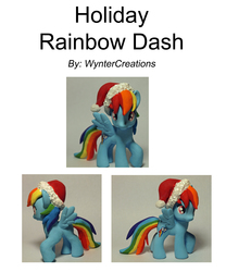 Size: 7087x8504 | Tagged: safe, artist:wyntercreations, rainbow dash, pegasus, pony, absurd resolution, christmas, custom, female, hat, holiday, irl, mare, photo, santa claus, santa hat, simple background, solo, toy, white background, winter