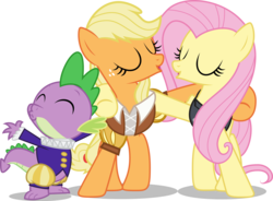 Size: 8188x6032 | Tagged: safe, artist:mewtwo-ex, applejack, fluttershy, private pansy, smart cookie, spike, hearth's warming eve (episode), absurd resolution, appleshy, female, hearth's warming eve, lesbian, missing accessory, shipping, simple background, transparent background, vector