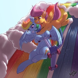 Size: 1280x1280 | Tagged: safe, artist:kevinsano, rainbow dash, scootaloo, pegasus, pony, sleepless in ponyville, action pose, belly button, duo, falling, female, filly, flying, mare, open mouth, rainbow, scootalove, scooter, smiling, sweat, waterfall