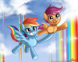 Size: 1100x880 | Tagged: safe, artist:johnjoseco, rainbow dash, scootaloo, pegasus, pony, sleepless in ponyville, assisted flying, carrying, cute, cutealoo, dashabetes, duo, female, filly, flying, foal, grin, happy, holding a pony, mare, open mouth, rainbow waterfall, scene interpretation, scootaloo can fly, scootalove, smiling, tears of joy
