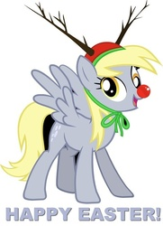 Size: 500x689   Tagged: safe, derpy hooves, pegasus, pony, antlers, christmas, derp, easter, female, mare, red nose