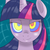 Size: 500x500 | Tagged: safe, twilight sparkle, pony, bust, female, grin, hypnosis, looking at you, mare, portrait, smiling, solo, swirly eyes