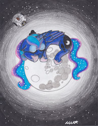 Size: 900x1160 | Tagged: safe, artist:neonredwings, princess luna, mare in the moon, moon, sleeping, space, space core, tangible heavenly object, traditional art