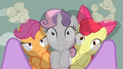 Size: 1280x720 | Tagged: safe, screencap, apple bloom, scootaloo, sweetie belle, twilight sparkle, earth pony, pegasus, pony, unicorn, hearts and hooves day (episode), cutie mark crusaders, female, filly, hearts and hooves day, mare, on back