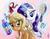 Size: 976x752 | Tagged: safe, artist:whitediamonds, applejack, rarity, earth pony, pony, unicorn, alternate hairstyle, annoyed, applejack is not amused, blushing, brush, brushie, duo, female, lesbian, loose hair, magic, makeover, mare, rarijack, ribbon, shipping, unamused