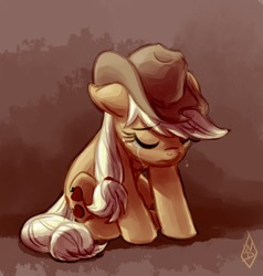 Size: 649x681 | Tagged: safe, artist:whitediamonds, applejack, earth pony, pony, applejack's hat, cowboy hat, crying, eyes closed, female, floppy ears, gradient background, hat, mare, sad, sitting, solo
