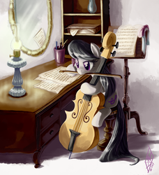 Size: 1094x1200 | Tagged: safe, artist:whitediamonds, octavia melody, earth pony, pony, bow (instrument), cello, female, lamp, mare, mirror, mouth hold, musical instrument, photoshop, quill, sheet music, sitting, solo, writing
