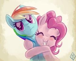Size: 726x584   Tagged: safe, artist:whitediamonds, pinkie pie, rainbow dash, earth pony, pegasus, pony, blushing, cute, dashabetes, diapinkes, duo, eyes closed, female, gradient background, hug, mare