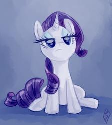 Size: 596x666 | Tagged: safe, artist:whitediamonds, rarity, pony, unicorn, female, get, gradient background, index get, mare, sitting, solo, unamused