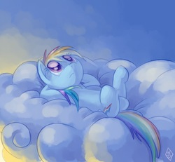 Size: 776x716   Tagged: safe, artist:whitediamonds, rainbow dash, pegasus, pony, 2011, cloud, crossed legs, cutie mark, female, hooves, looking up, lying down, lying on a cloud, mare, on a cloud, on back, sky, solo