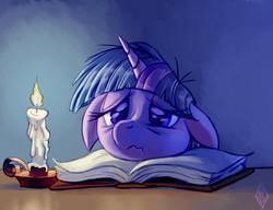 Size: 863x663   Tagged: safe, artist:whitediamonds, twilight sparkle, pony, unicorn, 3:, book, candle, female, floppy ears, mare, pouting, solo, tired