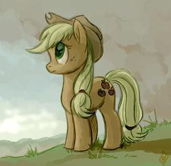 Size: 708x686 | Tagged: safe, artist:whitediamonds, applejack, earth pony, pony, female, mare, sad, solo