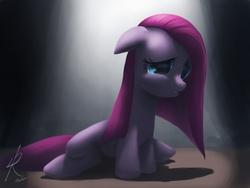 Size: 1024x768 | Tagged: safe, artist:raikoh, pinkie pie, earth pony, pony, female, floppy ears, mare, photoshop, pinkamena diane pie, sad, sitting, solo