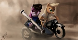 Size: 1368x707 | Tagged: safe, artist:raikoh, applejack, berry punch, berryshine, winona, earth pony, pony, bipedal, clothes, crossover, did you hit something, duo, duo female, female, hat, mare, motorcycle, oh dear, paint tool sai, pet, rocket launcher, tintin, trio, weapon